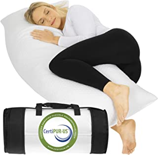 Xtra-Comfort Body Pillow (4.5 Feet Long) - Shredded Memory Foam Orthopedic Cushion for Sleep, Pregnancy Support, Maternity Bed Rest, Comfortable Cuddle - Bamboo Side Sleeper Soft Pad - Big Case Cover