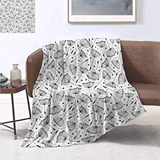 jecycleus Floral Commercial Grade Printed Blanket Cute Dandelion Flowers Nature Environment Fuzz Organic Fluff Artsy Illustration Queen King W70 by L84 Inch Black White