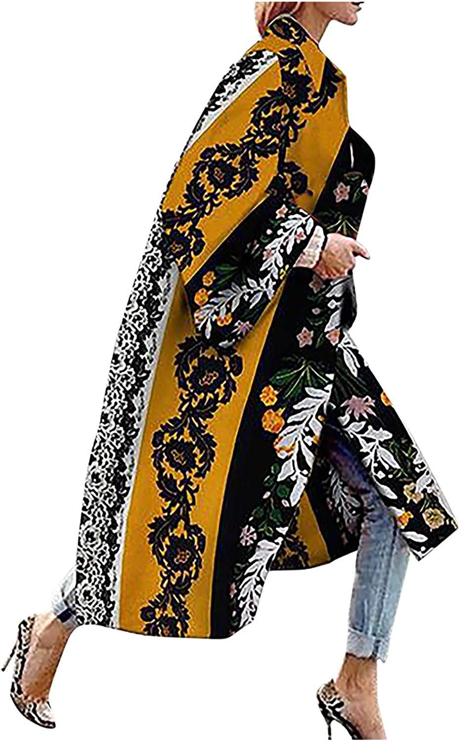 ZSBAYU Trendy Fall Jackets Long Cardigan Coats Women Winter Jacket Flare Bell Sleeves Multicolored Ethnic Casual Outwear