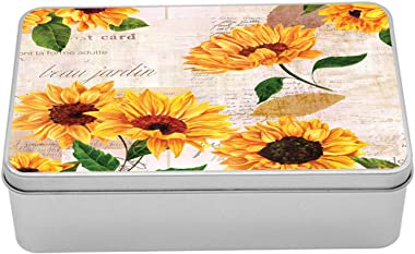 Lunarable Sunflower Tin Box, Romantic Flowers on Old Fashioned Letters Postcards Newspapers, Portable Rectangle Metal Organiz