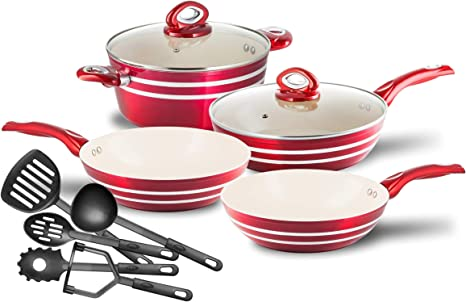 Chef's Star Ceramic Aluminum Nonstick Cookware Pots and Pans Set, Induction Compatible 11 piece (Red)