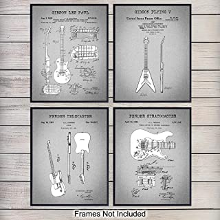 Famous Guitar Patent Art Prints - Vintage Wall Art Poster Set - Chic Home Decor for Bedroom, Living Room, Dorm, Man Cave - Great Gift for Musicians, Gibson, Fender Guitar Fans- 8x10 Photo - Unframed