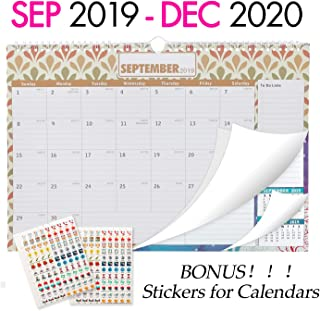 Wall Calendar 2019-2020, Large Monthly Wall Calendar with Plastic Cover: 16