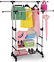 TOUARETAILS Stainless Steel Double Pole Portable Clothes Rack Foldable Garments Hanging Stand Adjustable Laundry Drying Rack Hanger, Multipurpose Cloth Storage Rack with Wheels
