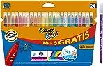 BIC Kids Kid Couleur Felt Tip Colouring Pens - Assorted Colours, Cardboard Wallet of 18+6