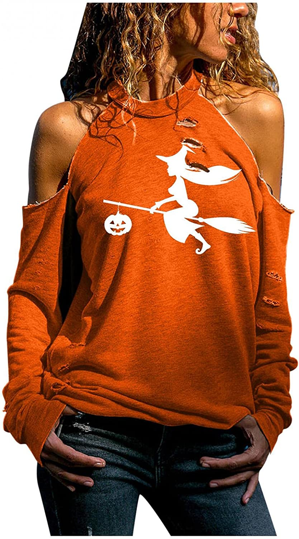 Women Off Shoulder Slouchy Witch Shirts Halloween Pumpkin Face Long Sleeve Sweatshirts Pullover Tops