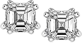 Stunning 2.00 CTW Asscher Cut Cubic Zirconia Stud Earrings in Sterling Silver. 6x6 8 Prong Settings