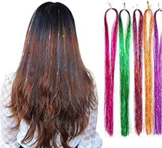 """28"""" Hair Tinsel Hair Streak Bling Hairpieces 300 Strands Sparkling & Shiny Hair Tinsel Extensions-300s shining silver"""
