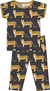 Kickee Pants Little Boys Custom Print Short Sleeve Pajama Set - Zebra Tiger, 5 Years