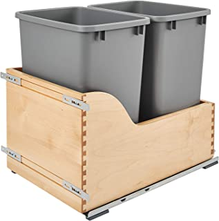 Rev-A-Shelf - 4WCSC-1835DMND-2 - Double 35 Qt. Pull-Out Bottom Mount Wood and Silver Waste Container with Soft-Close Slides for Inset Cabinets