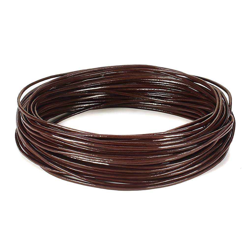BEADNOVA 1.0mm Genuine Round Leather Cord Leather Strips For Jewelry Making Bracelet Necklace Beading, 10 Meters/11 Yards, Dark Brown