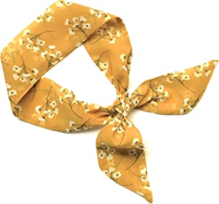 Short Skinny Neck Scarf Mustard Floral Ponytail Hair Head Wrap Scarf Top Selling Items Ready to Ship
