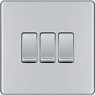 BG Electrical Screwless Flat Plate Triple Light Switch, Polished Chrome, 2-Way, 10AX
