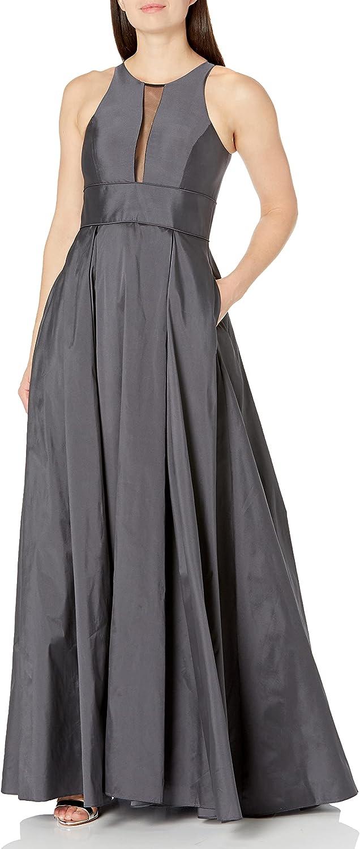Aidan by Aidan Mattox Women's Sleeveless Gown with Mesh Inset