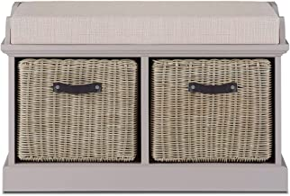 rags uk ltd Tetbury White Storage Bench with 2 white baskets and Grey Cushion Very sturdy fully assembled hallway storage bench
