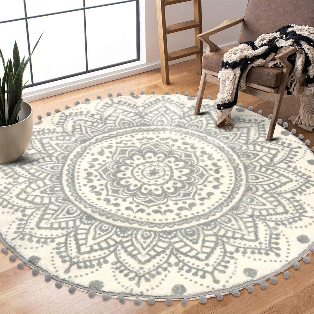 Uphome Round Area Online limited product Rug 3.9' Max 57% OFF Diameter Pom Fringe Chic Boh with