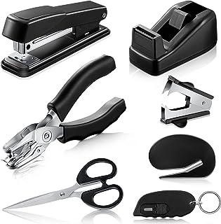 7-Piece Black Desk Accessory Kit Includes Desktop Stapler, Stapler Remover, Single Hole Punch, Tape Dispenser, Stainless S...