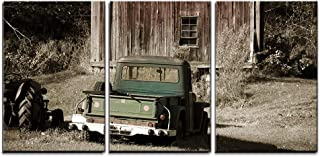 wall26 - 3 Piece Canvas Wall Art - Old Truck in Front of a Old Barn - Modern Home Decor Stretched and Framed Ready to Hang - 24