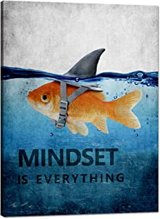 Goldfish Shark Motivational Poster Mindset is Everything Inspiring Canvas Wall Art Pictures Prints Framed Modern Home Decoration Artwork Great Gift Gym Living Room Bedroom Office(18''W x 24''H)