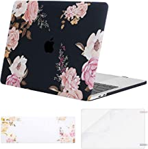 MOSISO Compatible with MacBook Pro 13 inch Case 2020 2019 2018 2017 2016 Release A2289 A2251 A2159 A1989 A1706 A1708, Plastic Peony Hard Shell Case&Keyboard Cover Skin&Screen Protector, Black