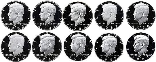 1980 S 1981 S 1982 S 1983 S 1984 S 1985 S 1986 S 1987 S 1988 S 1989 S Kennedy Half Dollar Gem Run 10 Coin Set .50 US Mint Proof