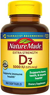 Nature Made Extra Strength Vitamin D3 5000 IU Softgels (125 mcg), 360 Count for Bone Health Value Size