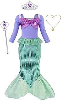 Sirenita Ariel Disfraz Niña Cumpleaños,Princesa Sirena Vestido Ropa Niña sin Manga Larga/Corta con Accesorios para Boda Fiesta Cosplay Halloween Navidad Carnaval Ceremonia Bautizo