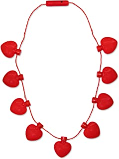 LED Light Up Red Heart Valentines Day Necklace Party Favor