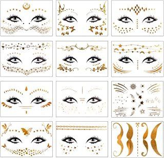 12 Piezas Tatuaje Temporal Cara de Metálicas Pegatinas Tatuajes Temporales para Mujeres