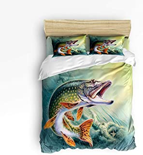 Cloud Dream Home 4 Piece Bedding Set, Fishing Duvet Cover Set Quilt Bedspread for Childrens/Kids/Teens/Adults Bass Fish with Hook Out of Ocean Queen Size(Large)