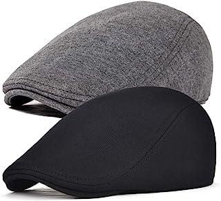 FEINION 2 Pack Men Cotton Newsboy Cap Soft Fit Cabbie کلاه