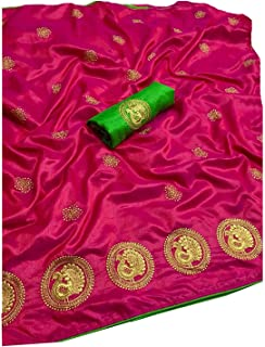 Any Fashion Women's Raw Silk Saree With Blouse Piece (MOR 1_Pink)