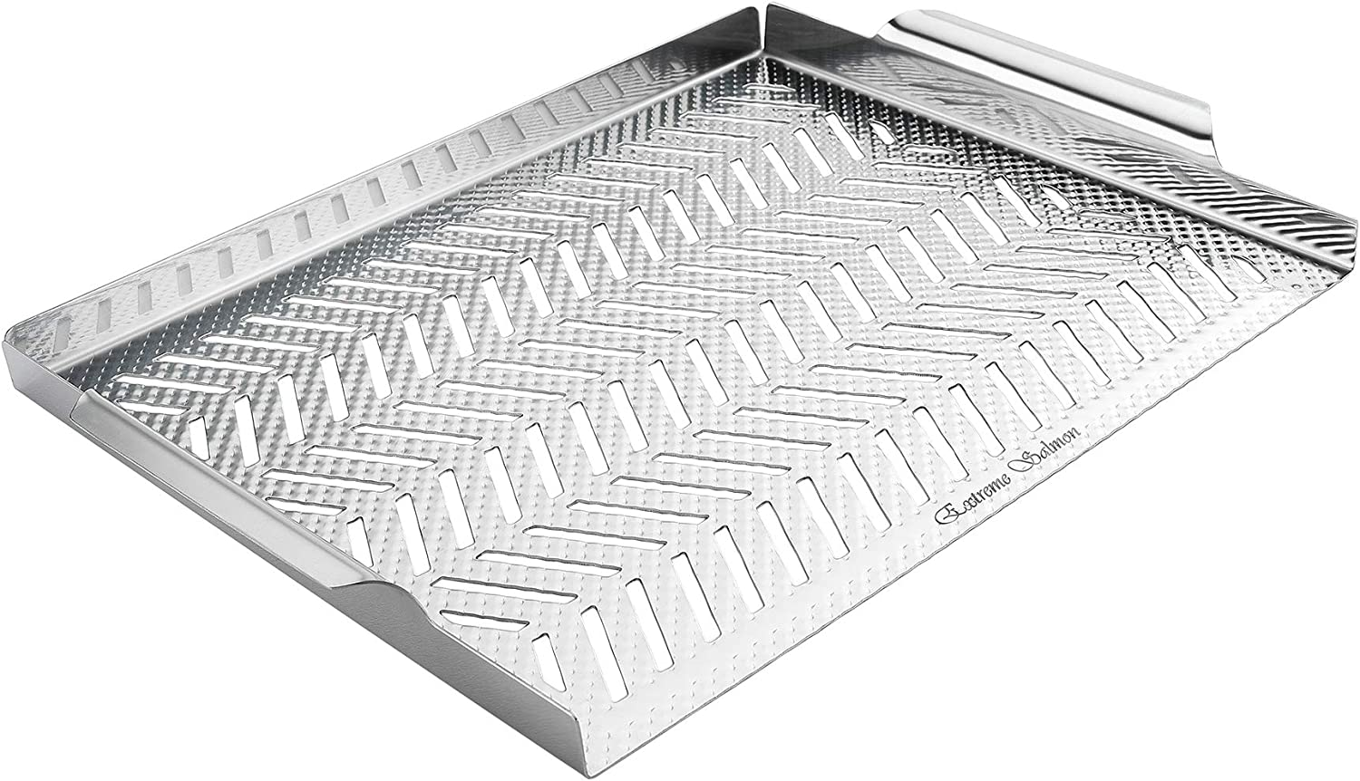 Extreme Salmon BBQ Grill Pan for Vegetables, Embossed Stainless Steel Grill Topper Pan with Handles Professional Grill Cookware Grill Accessories for Barbecue Grills Outdoor Cooking : Garden & Outdoor