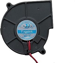 Fugetek 12V DC Brushless Blower Cooling Fan, HT-07530D12, 75x75x30mm, 2pin, Dual Ball Bearing, Computer Fan, Multi Use, Black, US Support