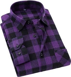 Mens Flannel Casual Buffalo Plaid Checkered Long Sleeve Shirt