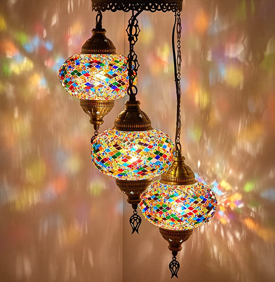 DEMMEX Turkish Moroccan Mosaic Hardwired OR Swag Plug In Chandelier Light Ceiling Hanging Lamp Pendant Fixture, 3 Big Globes (3 x 7