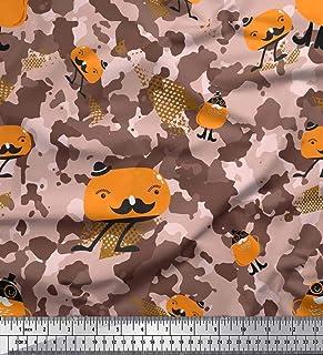 3024cadb82bd Soimoi Marrón seda Tela dibujos animados & camuflaje tela estampada impresa  por metro 42 Pulgadas de