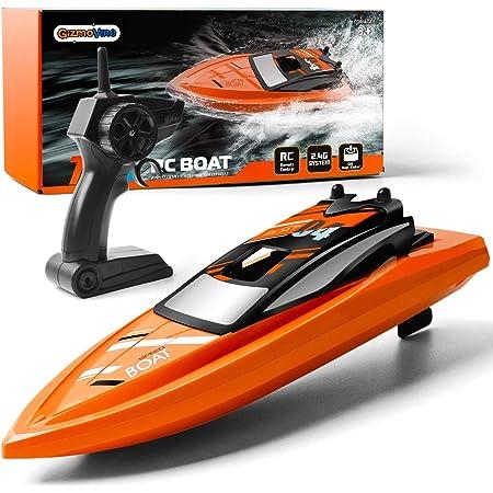 GizmoVine Barcos de Control Remoto para Piscinas y Lagos, Barcos RC de Alta Velocidad de 2,4 GHz para niños, Juguetes de Barcos de Carreras de Aventuras para niños
