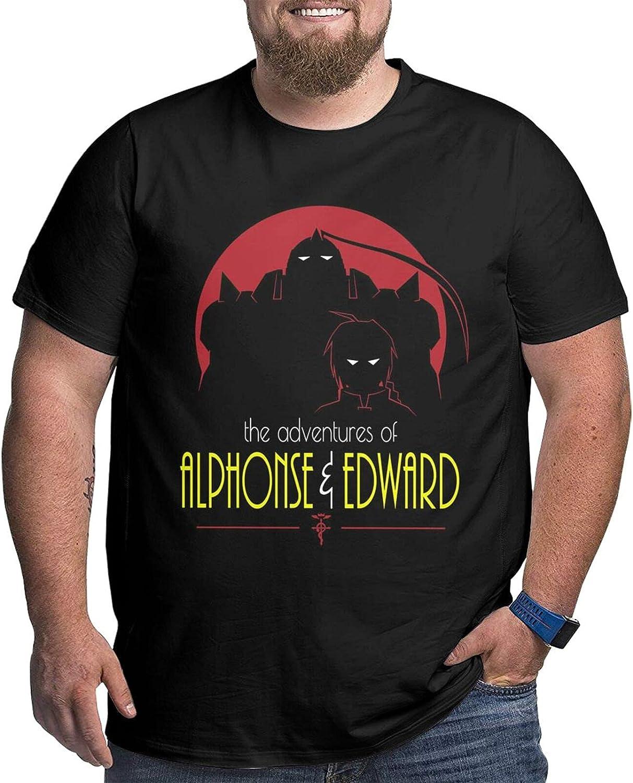 Fullmetal Alchemist Adventures of Alphonse & Edward Male Shirt Casual Short Sleeve Plus Size Cotton Tee