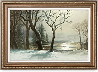 DECORARTS -Winter in Yosemite, Albert Bierstadt Classic Art Reproductions. Giclee Prints & Matching Frame for Home Decor, 30x20, Framed Size: 35x25