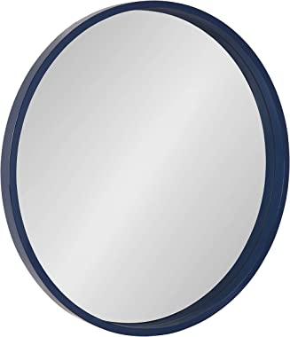 "Kate and Laurel Travis Round Wood Wall Mirror, 25.6"" Diameter, Navy Blue, Modern Wall Décor Accent"