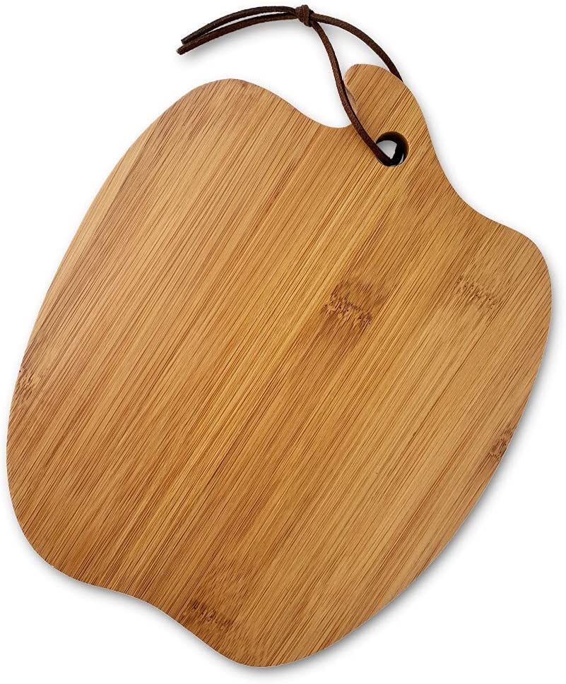 Farmhouse Kitchen Decoration Apple-shaped Bamboo Cutting Board With Handle, For Fruit and Veggies Small Wooden Bread Board, Cheese Serving Platter, Round Charcuterie Board, Natural Bamboo, 10