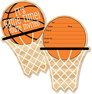 Big Dot of Happiness Nothin' but Net - Basketball - Shaped Fill-in Invitations - Baby Shower or Birthday Party Invitation Cards with Envelopes - Set of 12