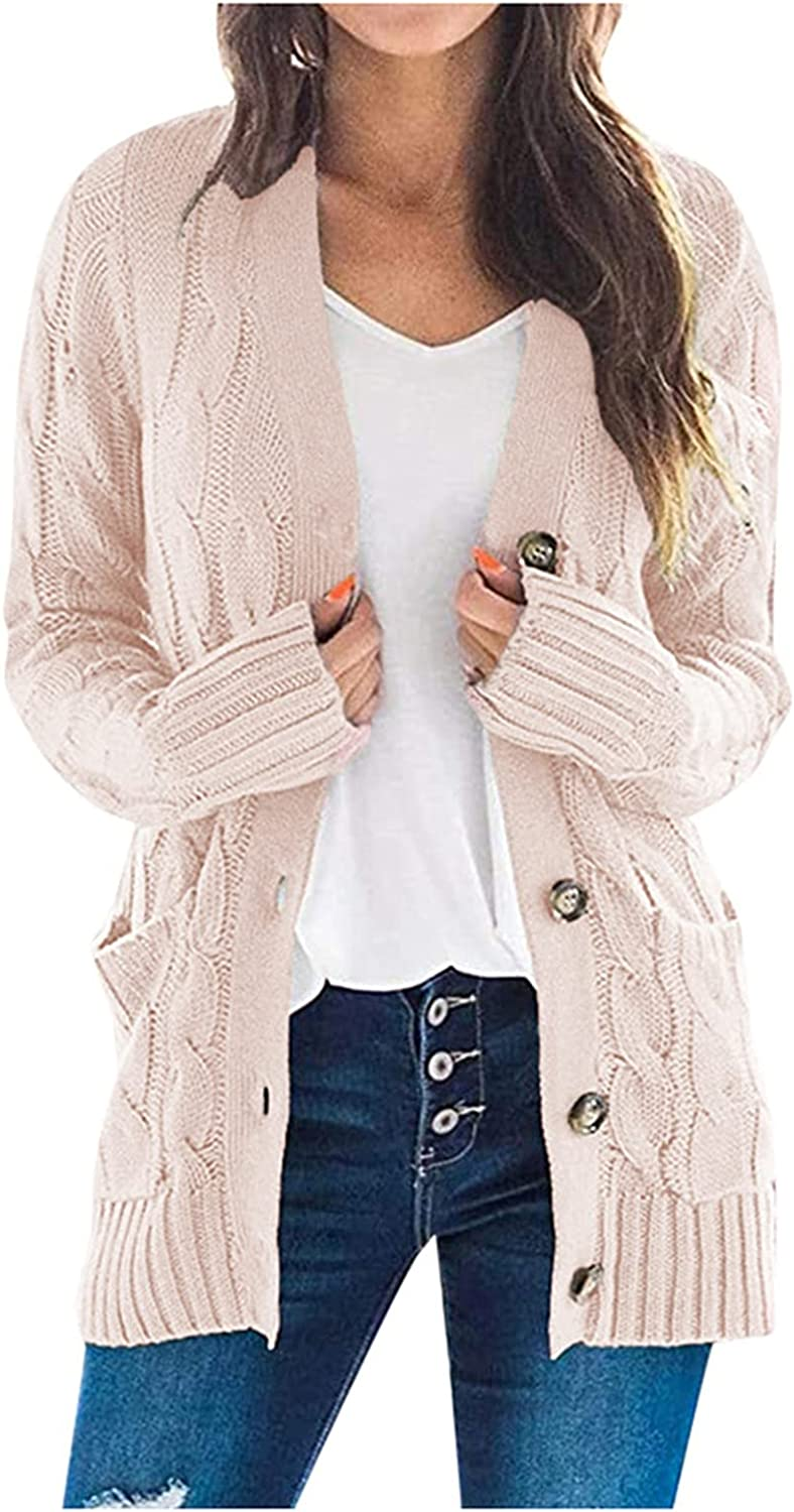 soyienma Cardigan Sweaters for Women,Women's Long Sleeve Cable Knit Cardigan Sweaters Open Front Fall Outwear with Pockets