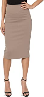 4 Way Stretch Curvy Ponte High Waist Knee Length Midi Pencil Skirt