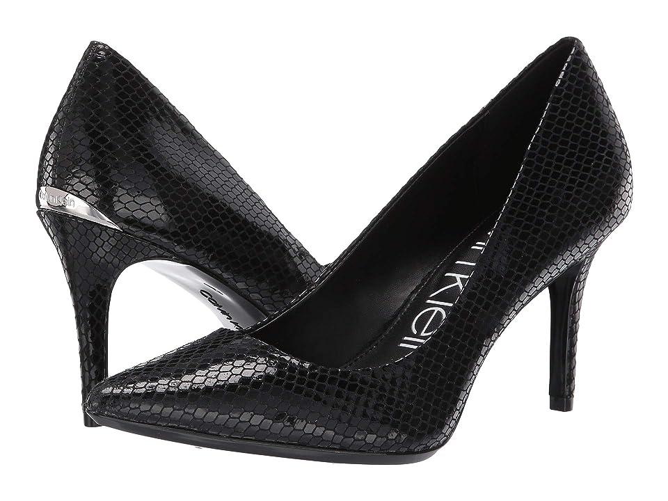 Calvin Klein Gayle Pump (Black Shiny Snake Print) High Heels