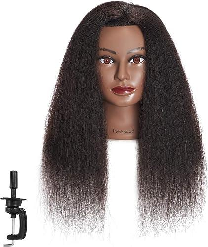 Traininghead 100% Real Hair Mannequin Head Training Head Cosmetology Manikin Practice Head Doll Head With Free Clamp ...