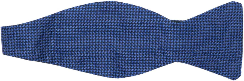 Dion Men's Silk Reversible Houndstooth and Grosgrain Hook Bow Tie
