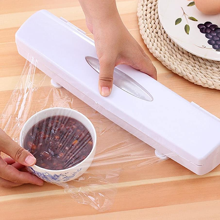 Food Cling Film Slicer, Elevin(TM) Plastic Food Wrap Cling Film Dispenser Aluminum Foil Wax Paper Cutter Cut Box (White)