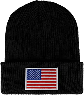 WHITE American Flag Embroidered Patch Ribbed Cuffed Knit Beanie